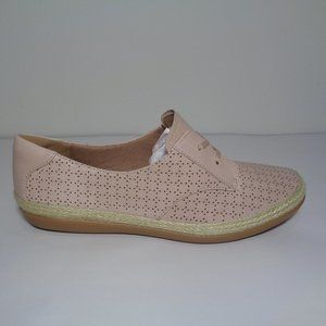 Clarks DANELY MILLIE Pink Leather Jute New Loafers